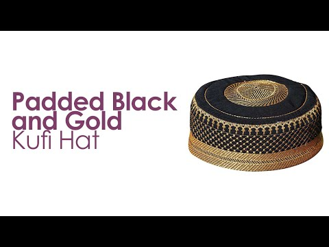 Black Gold Quilted Padded Kufi Hat - TheKufi