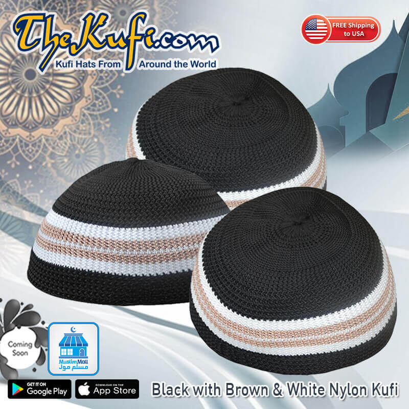 Black with Brown & White Nylon Kufi