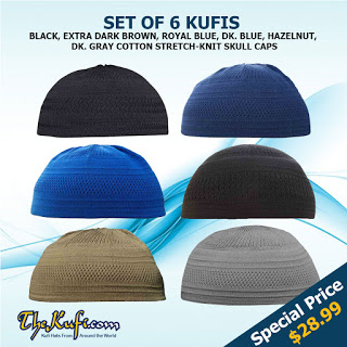 Set of 6 Cotton Stretch Kufi Skull Caps - Perfect for Everyday Use