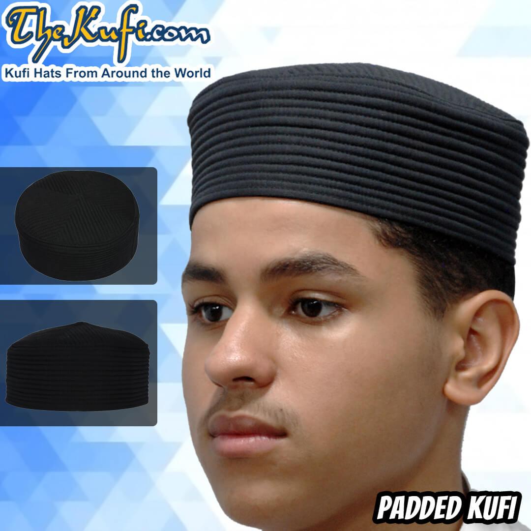 black padded kufi cap