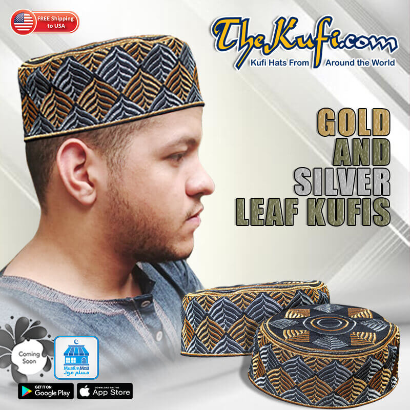 Gold Silver Leaf Kufi Hats