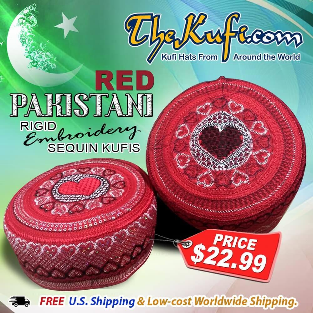 Red Pakistani rigid embroidery sequin kufis