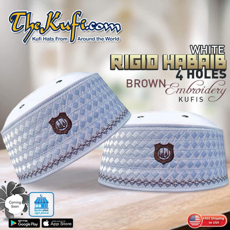 White Rigid Habaib 4 Holes Brown Embroidery Kufis