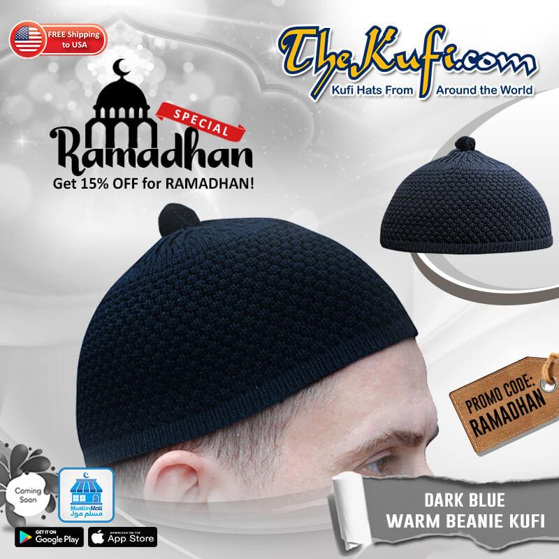 Dark Blue Turkish Style Knit Weave Stretchy Beanie Hat