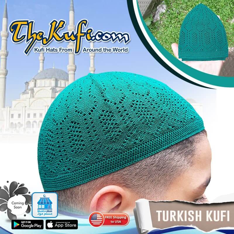 High Quality Machine-Knit Green Turkish Kufis