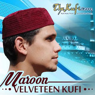 Maroon Velveteen Kufi