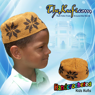 Hand-crocheted Rust Brown Kufi With Brown Stars For Kids