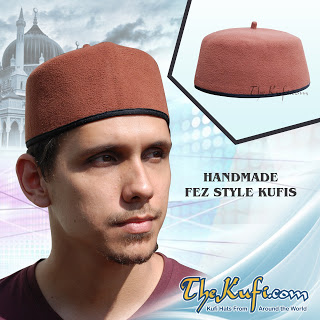 Hand-made Dark Brown Fez-style Kufi with tip