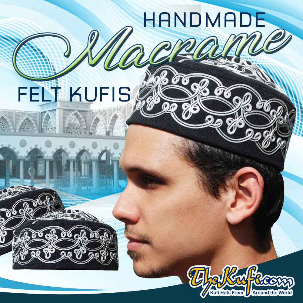 Hand-crafted Black Macrame Crown Kufi
