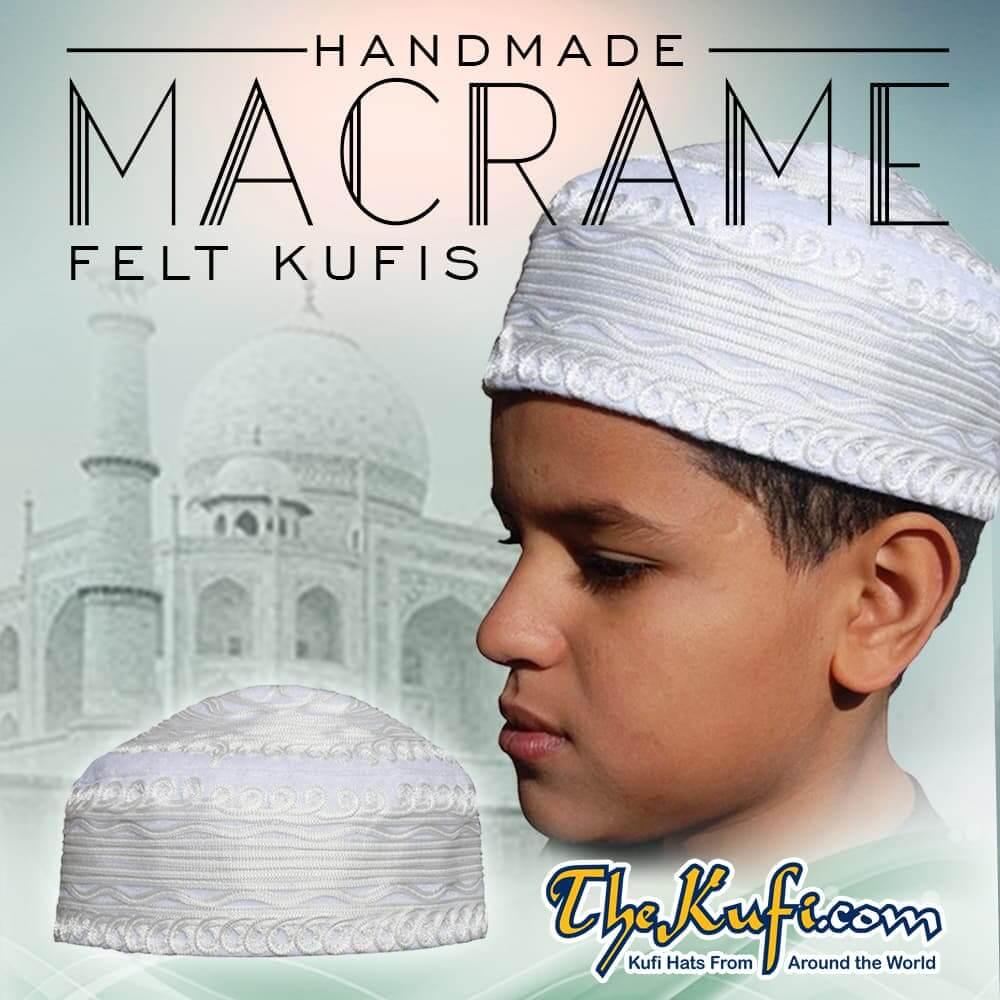 Handcrafted White Macrame Design Felt Kufis