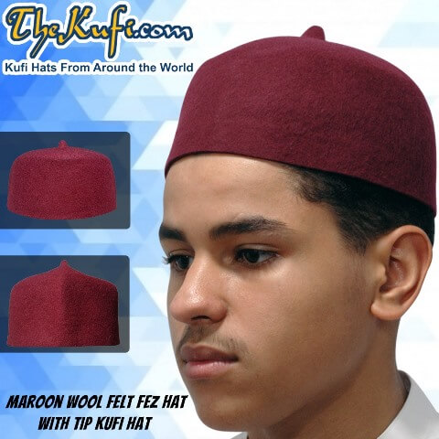 Maroon Natural Wool Felt Fez Kufi Hat with Tip