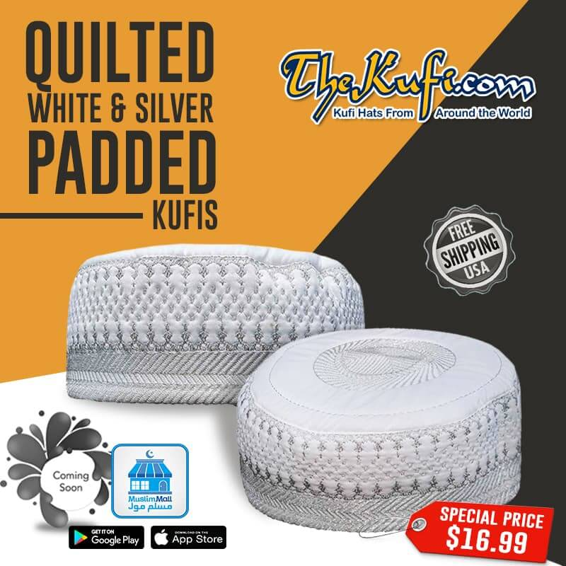 Quilted white and silver padded kufis
