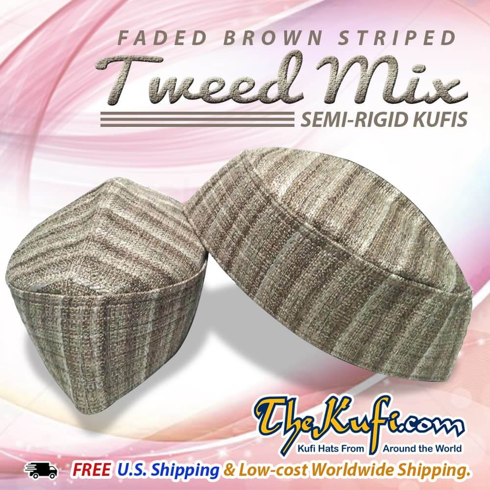 Faded Brown Striped Tweed Mix Semi Rigid Kufis