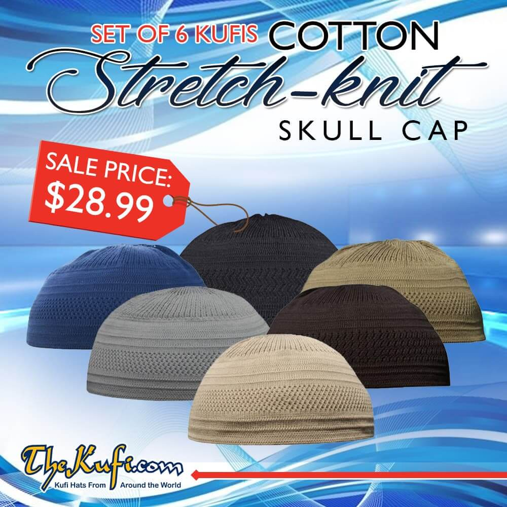 Set of 6 Cotton Stretch-knit Kufi Hats