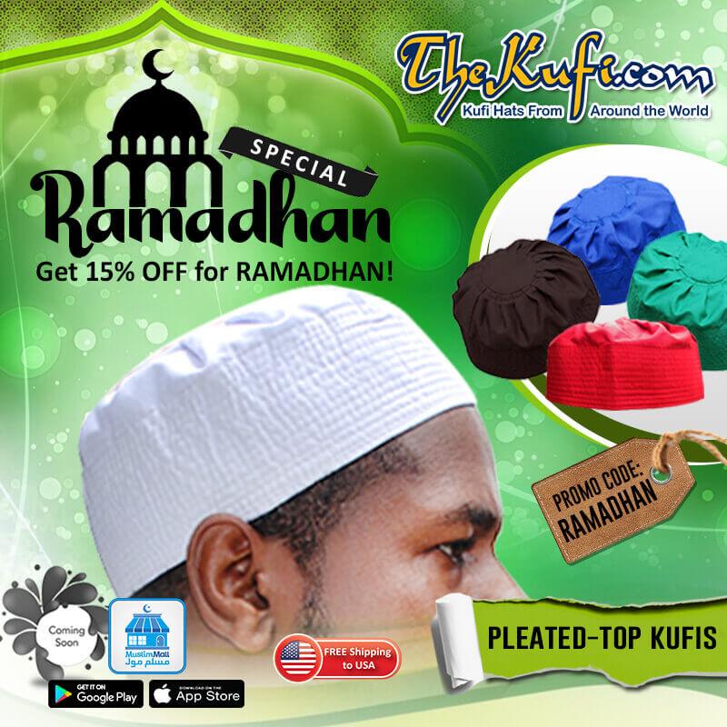 Pleated Top Kufi Hats Ramadhan Promo Sale