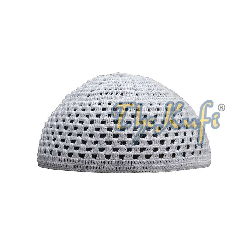 White Open Weave Soft Cotton Hand-crocheted Kufi