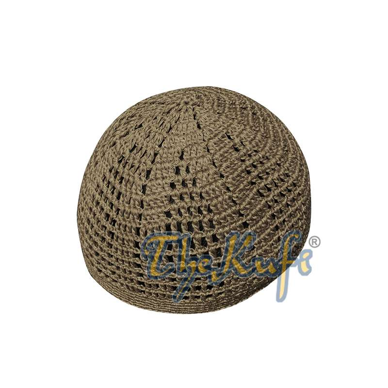 Skull Cap Kufi Cotton Brown Tight & Loose Weave Design Crochet Knit Head Cover