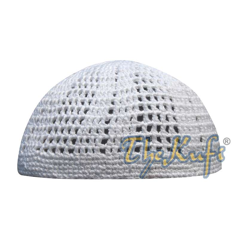 Lots of 5 White kufi Tight & Loose Weave Design Crochet Knit Cap