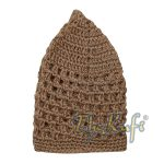 Hand-crocheted Cotton Light Brown Skull Cap Kufi Comfortable Head Cover