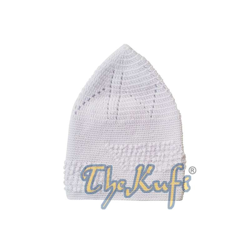 White Cotton Hand-Crochet with Parallelogram Knot Design Open-weave Feature on Top Kufi