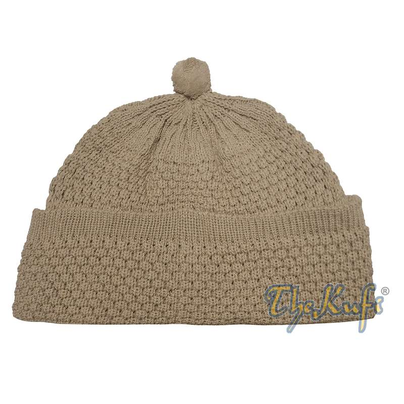 One-size Light Brown Thick-weave Stretchy Double Layer Warm Cotton-acrylic Beanie Hat with Pompom
