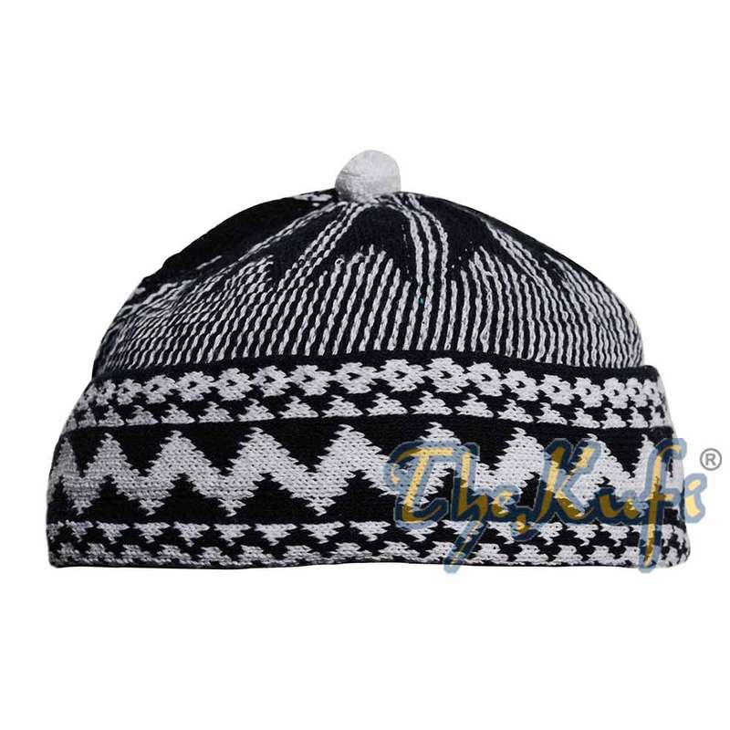 Black Cotton Blend Zigzag Beanie Kufi Hat with Ball on Top