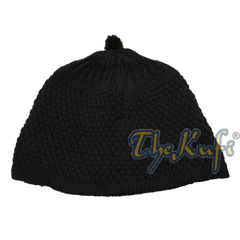 Dark Blue Color Turkish-style Knit Stretchy Beanie Hat One-size