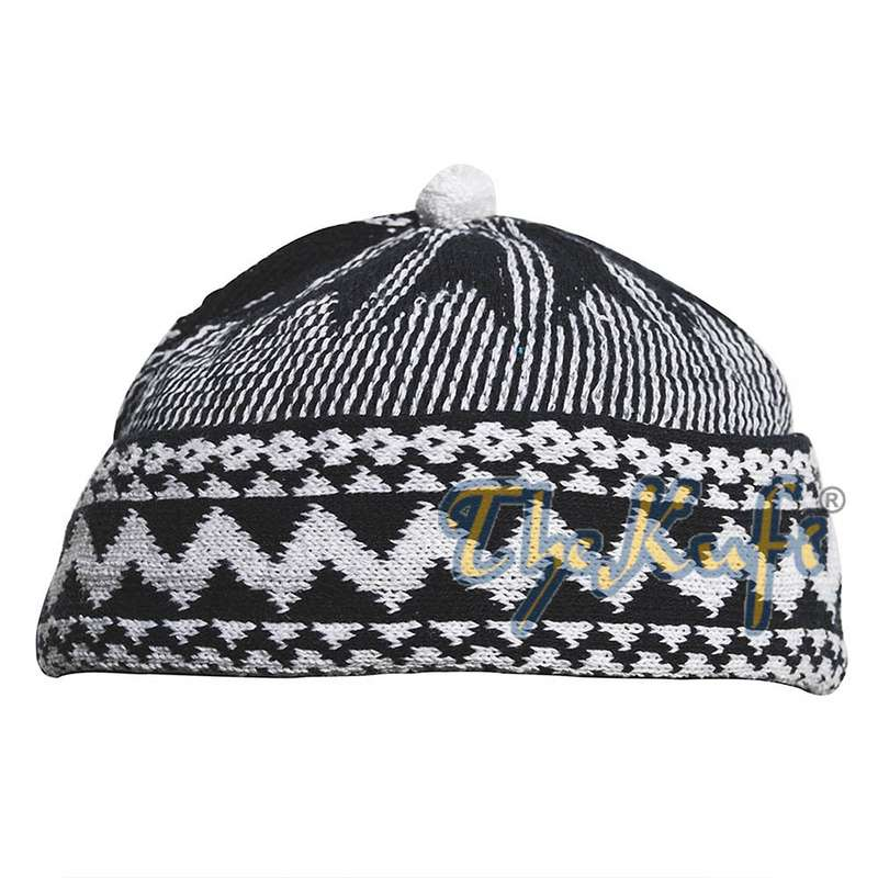 Indigo Blue Cotton Blend Zigzag Beanie Kufi Hat with Ball on Top