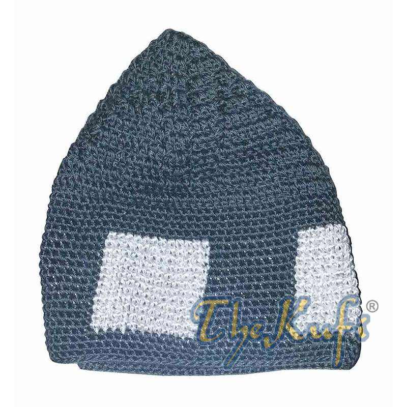 Hand-crocheted Dark Gray Kufi With White Squares For Kids