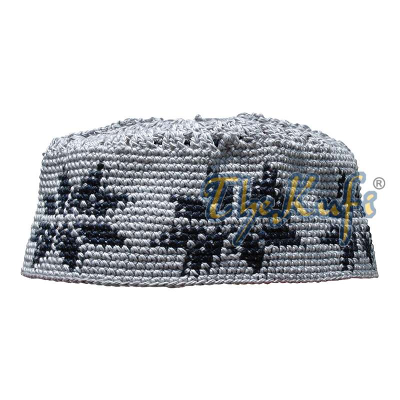 Hand-crocheted Gray Kufi with Black Stars For Kids