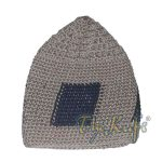 Hand-crocheted Khaki Kufi With Black Squares For Kids
