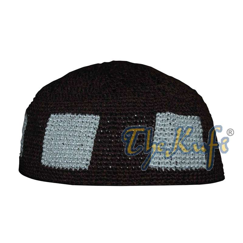 Hand-crocheted Dark Brown Kufi With White Squares For Kids