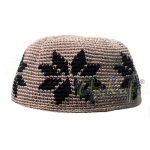 Hand-crocheted Light Brown Kufi With Brown Stars For Kids