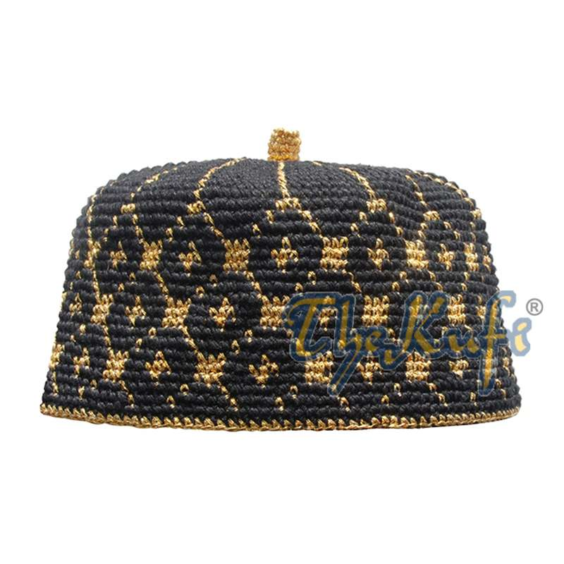 Black Crocheted Kufi Hat with Metallic Gold Thread and Tip