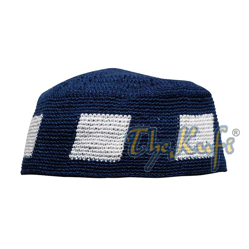 Dark Blue Hand-crocheted Durable Cotton Kufi Hat Cap with White Design