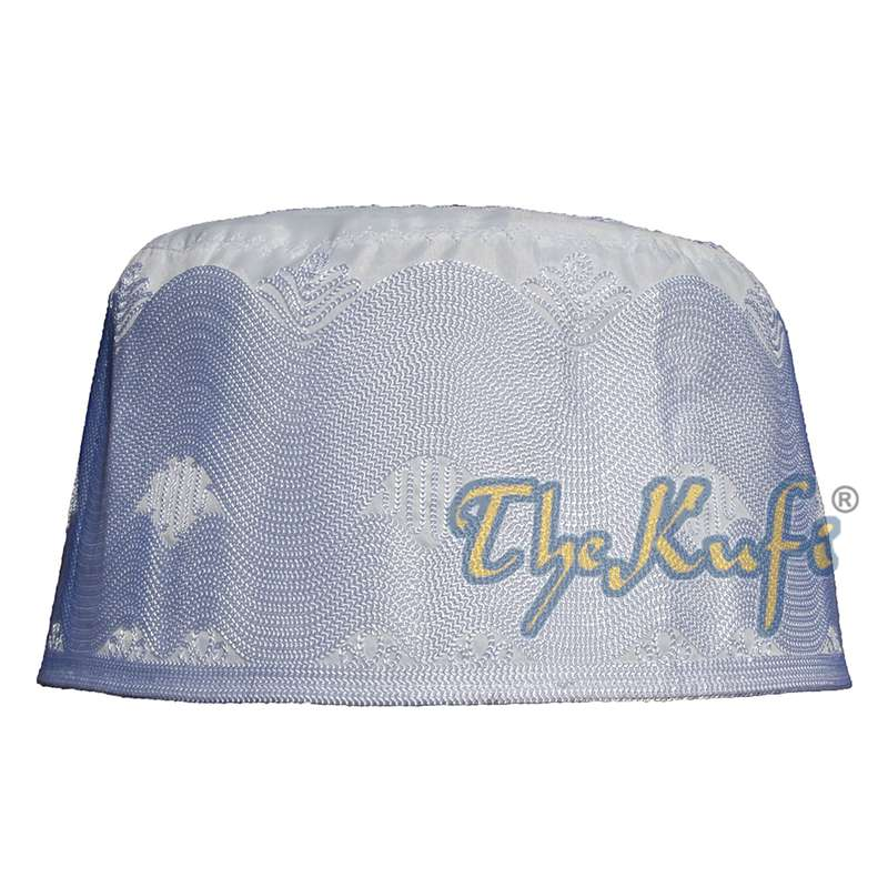 Unique Tall White Embroidered Cotton Islamic Kufi