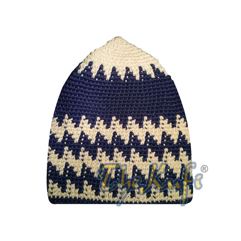 Hand-crocheted Cotton Sturdy Cream & Cobalt Blue Hounds-tooth Zigzag Kufi Hat