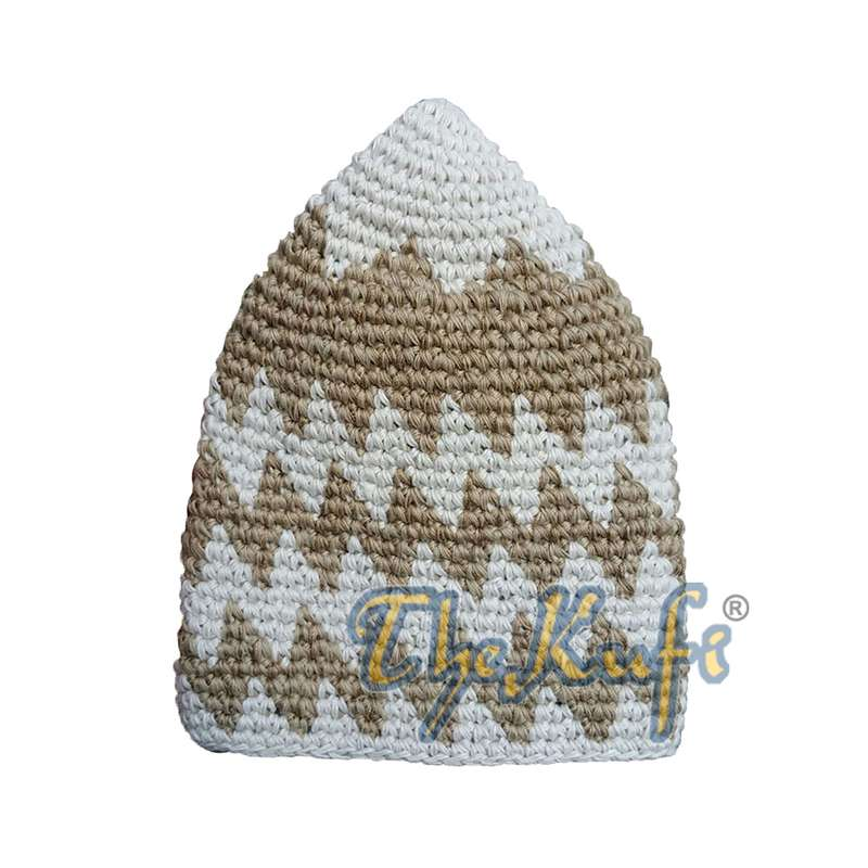 Hand-crocheted Cotton Cream Faded Light Brown Zigzag Design Comfortable Head Cover