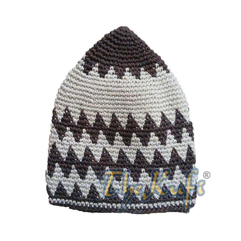 Hand-crocheted Cotton Sturdy Faded Dark Brown & Faded Light Brown Zigzag Kufi Hat