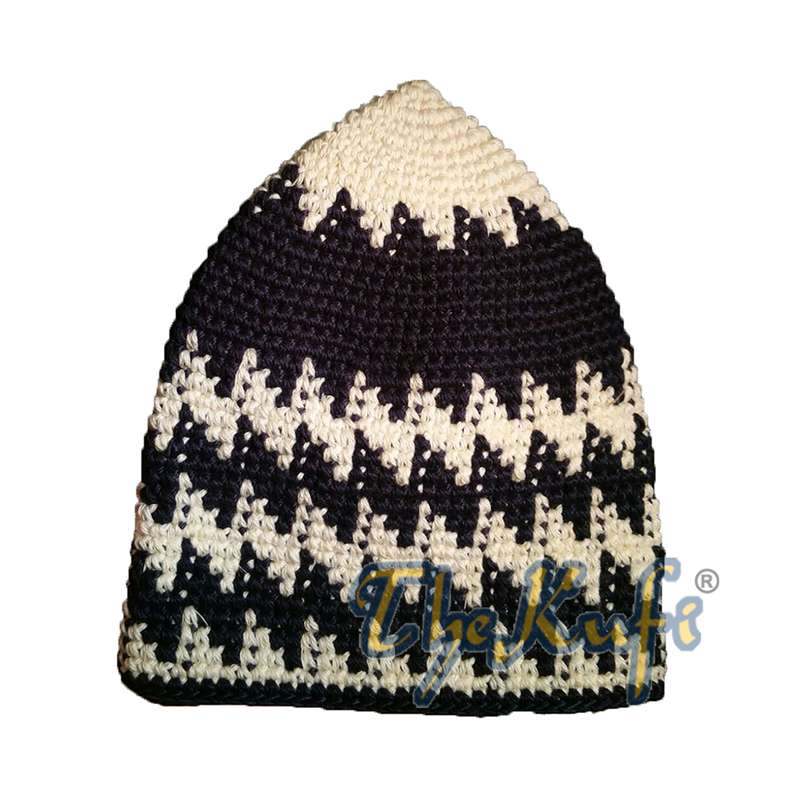 Hand-crocheted Cotton Sturdy Faded Cream & Dark Blue Hounds-tooth Zigzag Kufi Hat