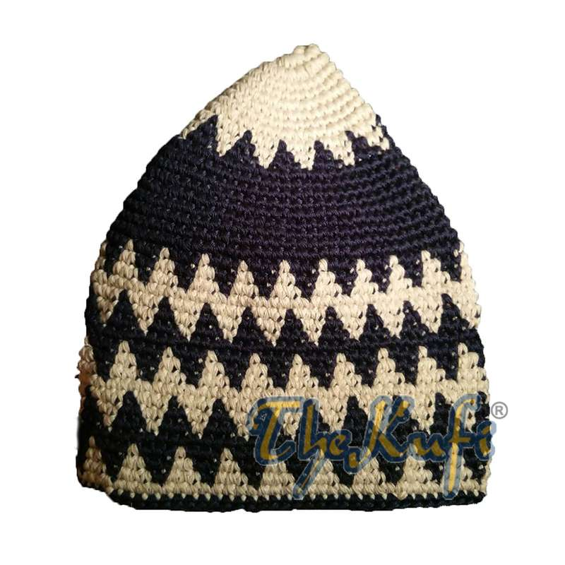 Hand-crocheted Cotton Sturdy Off-White & Dark Blue Hounds-tooth Zigzag Kufi Hat