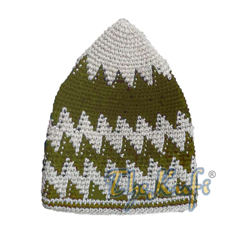 Hand-crocheted Cotton Off White Olive-Green Brown Zigzag Design Comfortable Head Cover