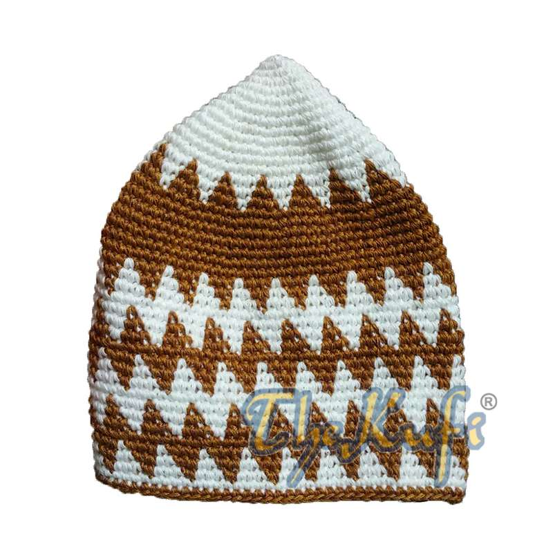 Hand-crocheted Cotton Sturdy Off-White & Rust Brown Zigzag Kufi Hat