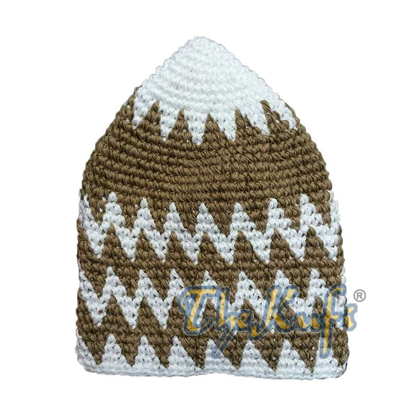 Hand-crocheted Cotton Sturdy Off-White & Olive Green Brown Mix Zigzag Kufi Hat