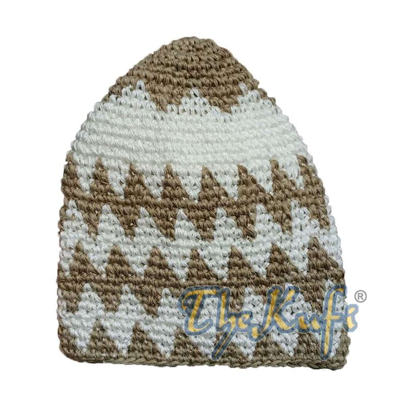 Hand-crocheted Cotton Sturdy Faded Brown & Off-White Zigzag Kufi Hat