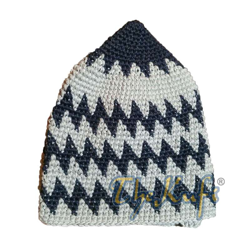 Kids Hand Crocheted Cotton Indigo & Cream Zigzag Kufi Hat