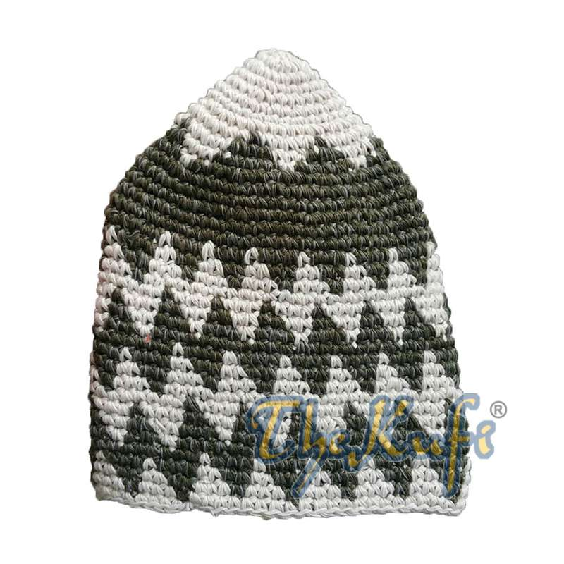 Hand-crocheted Cotton Sturdy Latte & Faded Forest Green Zigzag Kufi Hat