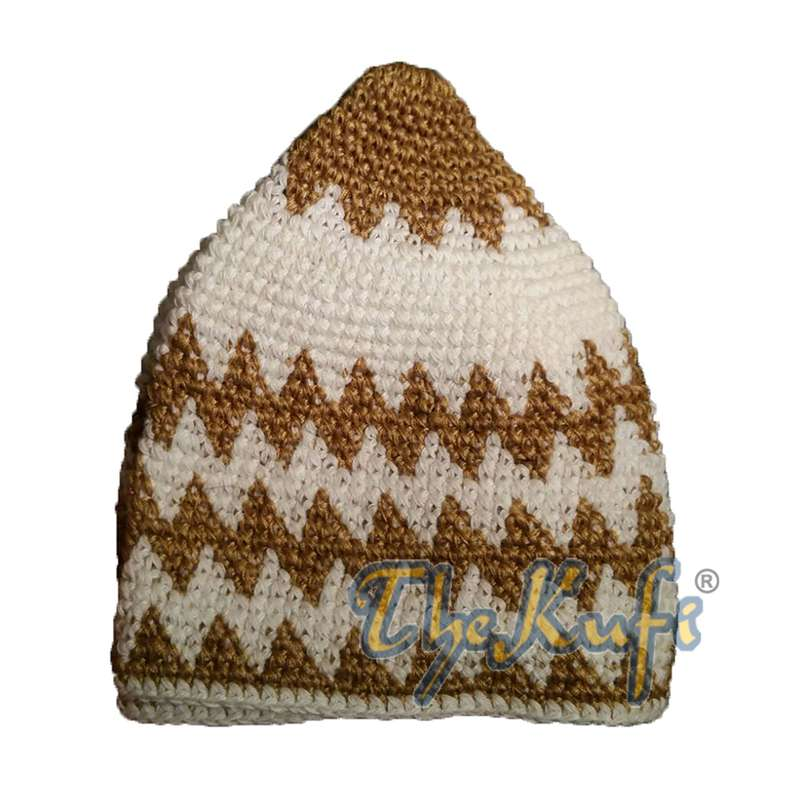 Hand-crocheted Cotton Sturdy Faded Golden Brown & Cream Zigzag Kufi Hat