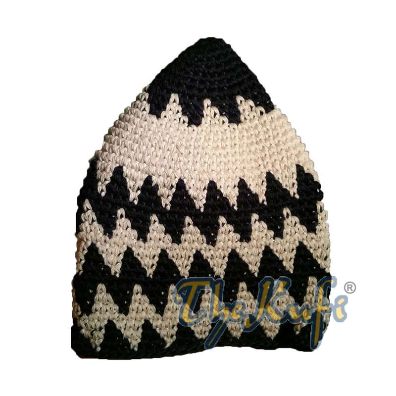 Hand-crocheted Cotton Sturdy Indigo & Off-White Zigzag Kufi Hat