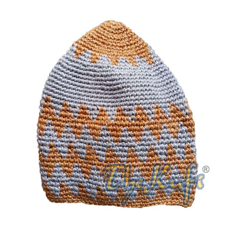 Hand-crocheted Cotton Sturdy Faded Rust Brown & Gray Zigzag Kufi Hat